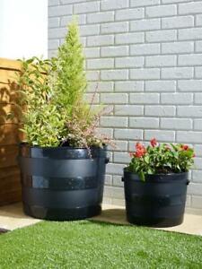 Large 34cm/50cm Barrel Planter Tub Garden Plant Flower Herb Pot Container Black