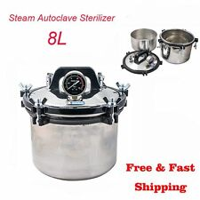 8L Portable Steam Autoclave Stainless Steel Sterilizer Dental Equipment Seal Pot