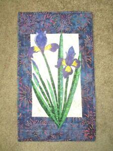 """Hand Made Art Quilt / Wall Hanging   """"Iris""""   12"""" x 20.5"""" ~Batiks"""