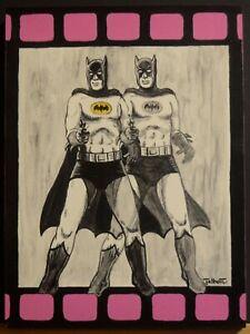 ORIGINAL BATMAN PAINTING Andy Warhol DOUBLE ELVIS Spoof Pulp Surrealist Talbott