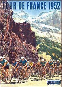 Vintage 1952 Tour de France Cycling Poster A3 Print