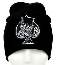 Black Spade Skull Top Hat Beanie Alternative Clothing Knit Cap Biker Death