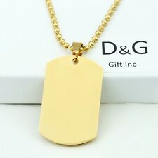 "DG Men's 24"" Stainless Steel,Gold DOG TAGS,Pendant,Ball Chain Necklaces + BOX"