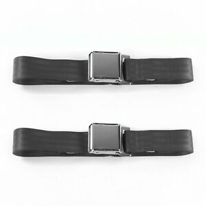 Early Cars 1935 - 1940 Airplane 2pt Charcoal Lap Bench Seat Belt Kit - 3 Belts