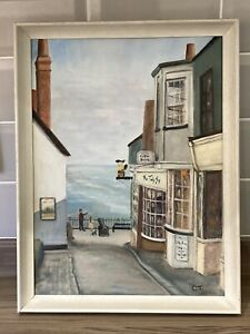 Seaside Painting Lyme Regis  Street View Acrylic on Board Framed Signed