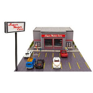 1/64 Slot Car Dealership Building Fits AFX, Aurora Race Track, Hotwheels Diecast