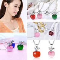 Fashion Women Girl Cute Crystal Apple Pendant Choker Necklace Chain Jewelry Gift