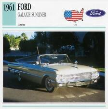 1961 FORD GALAXIE SUNLINER Classic Car Photograph / Information Maxi Card