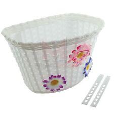 New Bicycle Basket White With 3 Flowers Blue/Pink/Purple Girls Kids Bike Basket