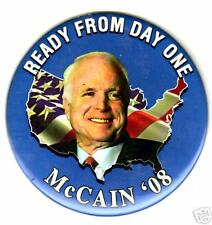 Ready from Day One John McCain USA Flag Button L@@K!