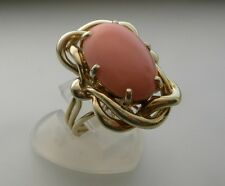 VINTAGE  14K YELLOW GOLD CORAL  RING 12.4 GR