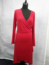 Ladies Dress Size l Wrap Design Partywear Red Fitted Curvy