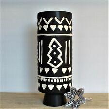 Matt Black Geometric Aztec Ceramic Vase 30cm Modern Flower Display Pot