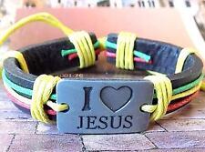 I Love Jesus New Age Fashion Leather Hemp Surfer Character Bracelet Wristband