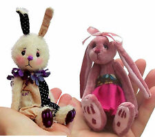 Mini soft toy rabbit sewing patterns by pcbangles  (pack of 2)