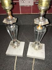 Vintage Pair of Faux Crystal Clear Lucite Small Bed Side Table Lamps Marble Base
