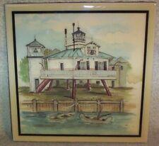 "Hooper Island Lighthouse Maryland Donna Elias Ceramic Wall Hanging Tile 8""X8 Nib"