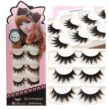 5 Pairs Natural Soft Handmade Long Black Makeup Thick False Eyelashes Eye Lashes