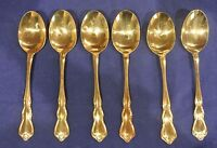 Set of 6 Gold Tone finish Walco Flatware Floral Rose Soup Spoons