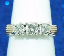 1ctw DIAMOND THREE-STONE ENGAGEMENT RING SOLID 14K GOLD 5.1g SIZE 7