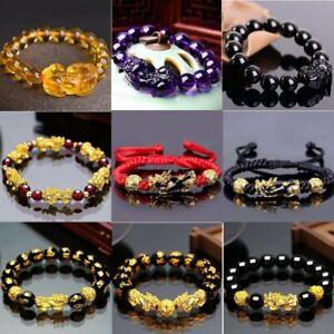 Feng Shui Obsidian Stone Wealth Happiness Pi Xiu Bracelet Good Luck Men Gifts
