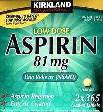 Kirkland Signature Aspirin Low Dose 81mg Enteric Coated, 365 Tablets Each Bottle