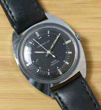 Vintage CARAVELLE 1976 Manual Wind Men's Watch Black Dial RUNS GREAT