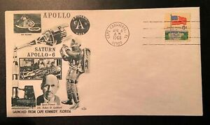 RARE Post Stamped FDC Covers. Space Center APOLLO 6 1968