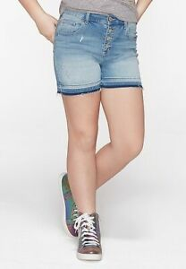 Justice Girls Denim Destructed High Rise Midi Shorts - New with Tags