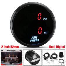 2'' 52mm Dual Digital Air Pressure Gauge PSI Air Suspension Meter Red LED
