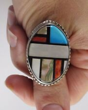 Large Oval MoP, Turquoise, Coral, Paua Shell and Onyx Inlay Stamped Silver Ring