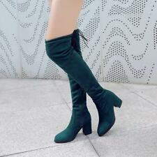 Womens Side Zip Stretchy Over Knee Thigh High Boots Block Heels Faux Suede Shoes