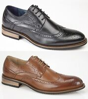 Mens Brogue London Classic Leather Lined Smart Office Slip On Shoes Lace Up New