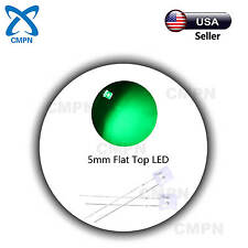 100pcs 5mm Flat Top Green LED Light Emitting Diode Clear Wide Angle Lights USA