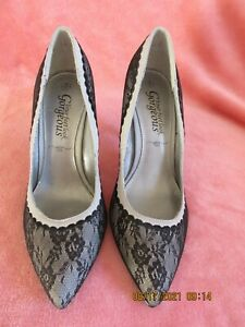 women new look classic heeled shoes black and grey lace size 4 new