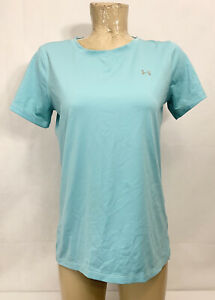"""Under Armour Team Aqua Athletic Shirt No Size Tag 18.5"""" Short Sleeves Fitted"""
