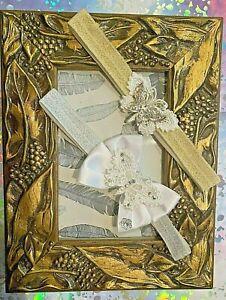 PACK OF 2-GIRLS PARTY-PRINCESS-HEADBANDBUTTERFLY-RHINESTONE-DIAMANTE-IVORY GOLD