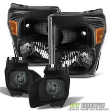 2011-2016 Ford F250 F350 SuperDuty SD Black Headlights+Smoke Fog Lights w/Switch