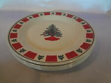 Folkcraft - Holiday - Red/Green w/Christmas Tree Center - Set of 4 Dinner Plates