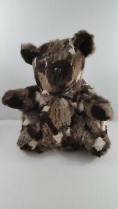 "REAL Rabbit FUR TEDDY BEAR 18""  Multi Color Gray Brown White"