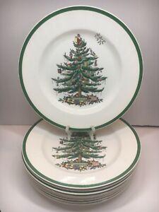 "Set of 9 Spode Christmas Tree Holiday 10.5"" Dinner Plates Green Rim"
