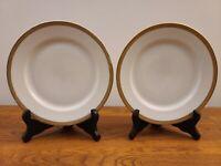 """Set of 2 H&Co Bavaria Heinrich Gold Encrusted Rim 7 3/4"""" Salad Plates"""