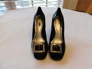 BCB Girls Women's Ladies Open Toe Heels Black Size 7 1/2 Slightly Used pre-owned