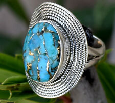 925 Solid Sterling Silver Blue Copper Turquoise Stone Ring Size S T U V W X Y Z
