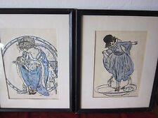 PAIR OF ORIGINAL 1920s MOTHER & CHILD AND GIRL, COLORED WASH INK DRAWINGS,SIGNED