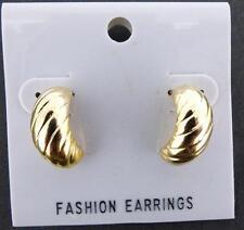 """Goldtone Corrigated Caterpillar Semi-Hoop Earrings 5/8"""""""