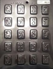 """Rectangle Initial Mint Letter """"Q,R,S,T"""" Chocolate Plastic Candy Mold CK 90-14235"""
