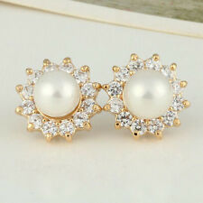 8mm Sparkle Sunflower Pearls Rhinestone Women's Yellow Gold Plated Stud Earrings