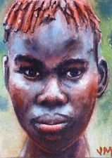 Aceo Fine Art Card Original Watercolor Portrait Painting / Young African