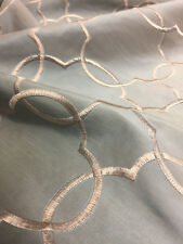 Embroidered Geometric Taffeta Teal Silver Drapery Fabric by the yard